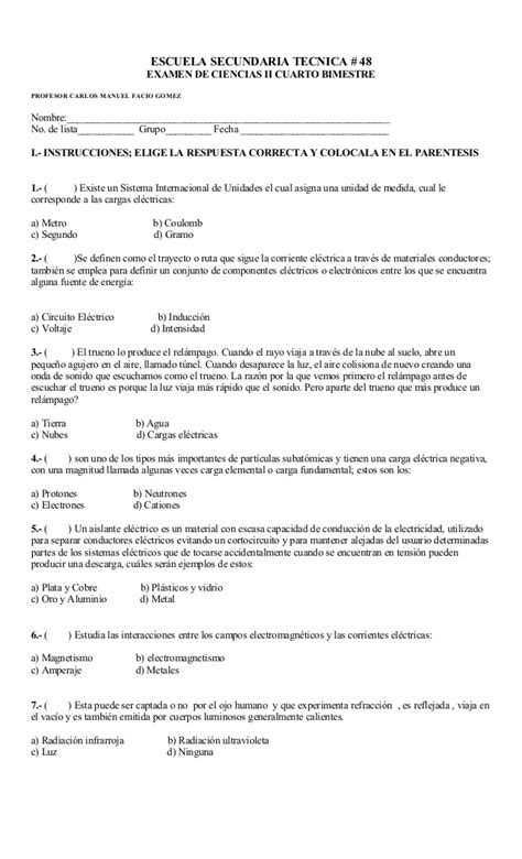 examen primero de secundaria primer bimestre examen cuarto bimestre de ciencias ii
