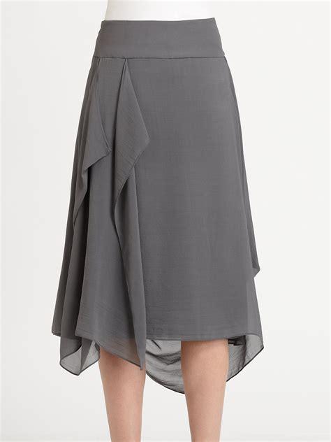 eileen fisher silk draped skirt in gray lyst
