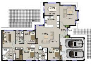 4 bedroom house blueprints hillside 4 bedroom 2 living areas garage house