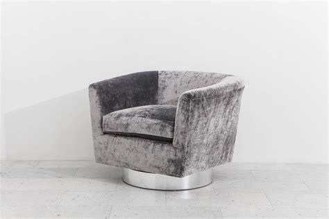 milo baughman swivel chair milo baughman pair of grey velvet swivel chairs usa