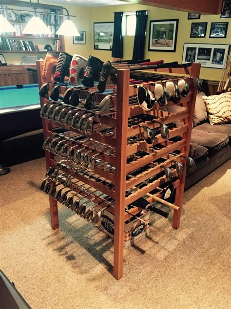 Farmhouse Style Bedroom hand crafted cherry golf club display rack by lyons