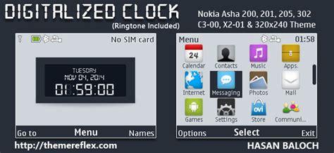 clock themes for nokia c3 digitalized clock theme for nokia c3 00 x2 01 asha 200