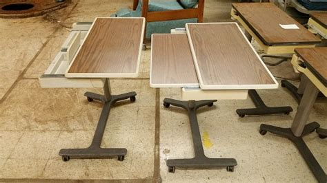 hospital bed table for sale hill rom patient mate jr over the bed table used