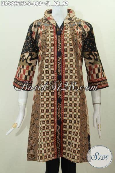 Baju Syifa Tunik Dr pakaian dress batik klasik kerah langsung baju batik