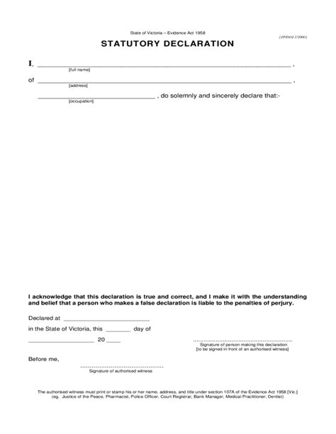 statutory declaration form city of melbourne free download