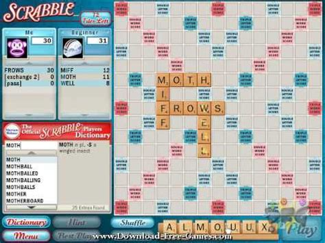 free scrabble with computer official scrabble pc play