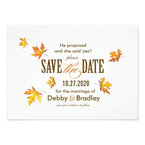 save the date invite template autumn wedding save the date invitation template 4 5 quot x 6