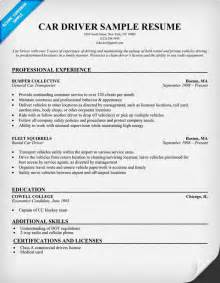 Chauffeur Driver Sle Resume by Car Driver Resume Sle Resumecompanion Amg Ta Sle Resume