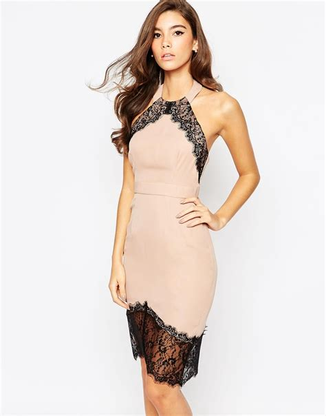 Dress Lace Asymetris elise bodycon dress with asymmetric lace hem brown in brown lyst