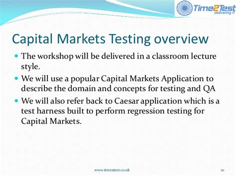Mba In Capital Markets Part Time by Capital Markets Testing Calypso