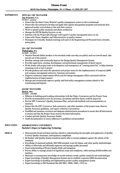 Construction Qc Manager Resume by Qa Qc Manager Resume Sles Velvet