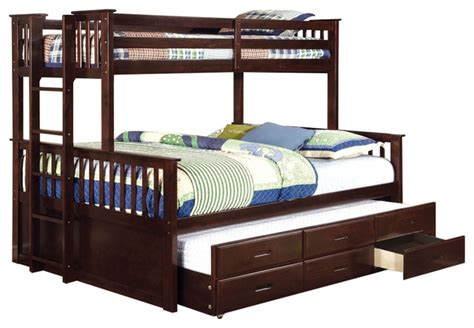 university oak twin over twin size bunk bed trundle and