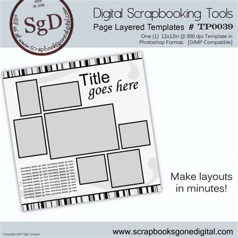 Scrapbooks Gone Digital Blog Free Digital Scrapbook Photoshop Layer Template T0030 Free Scrapbook Templates For Photoshop