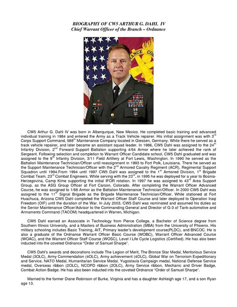 fine army bio template pictures inspiration resume ideas