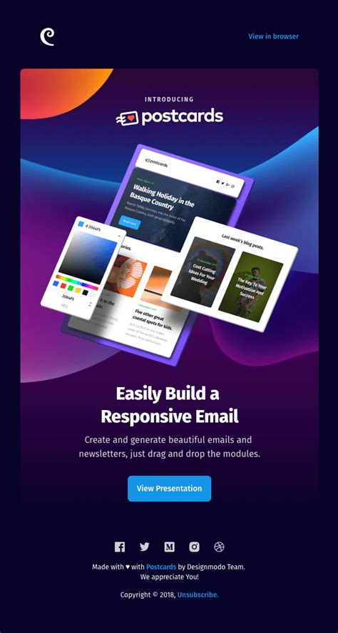 Introducing Postcards Simple Drag Drop Email Template Builder Really Good Emails Free Email Template Builder Drag And Drop
