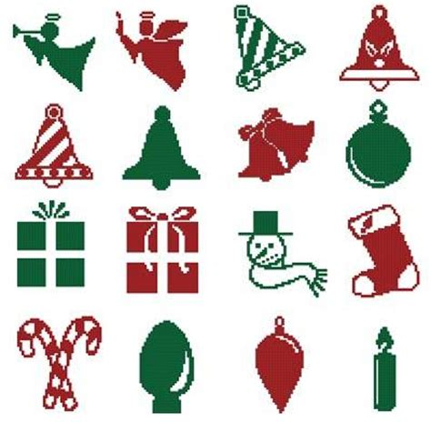 christmas motifs 6 cross stitch pattern motifs