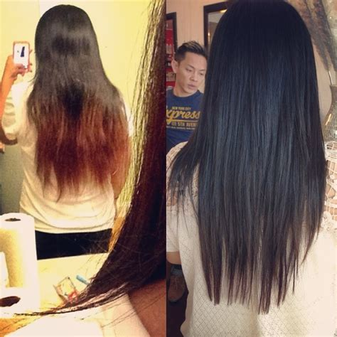 separsted ends bobs before and after all the split ends colored highlighted