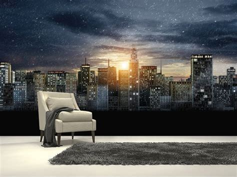 skyline wallpaper bedroom gotham city skyline the dark knight rises wall mural room