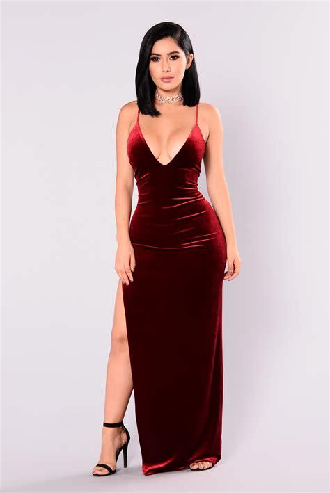 Dress Fashion To galant velvet dress burgundy