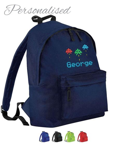 personalised school bag with arcade logo withcongratulations