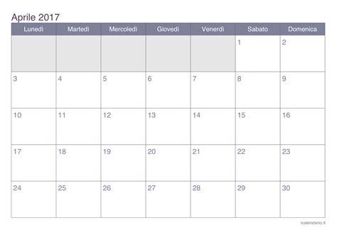 Calendario Aprile 2017 Pdf | calendario aprile 2017 da stare icalendario it