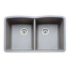 Grey Kitchen Sink Blanco 440183 Metallic Gray Equal Bowl Silgranit Undermount Kitchen Sink