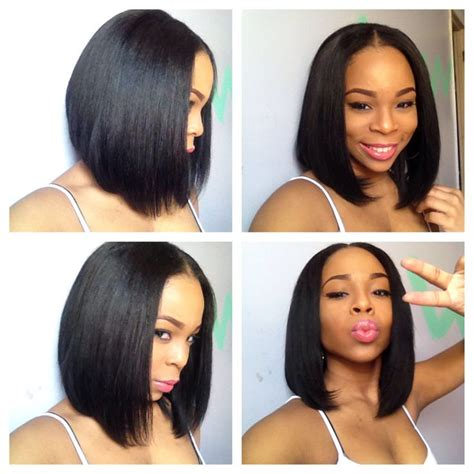 middle part bobs sew in bob google search hairstyles pinterest bobs