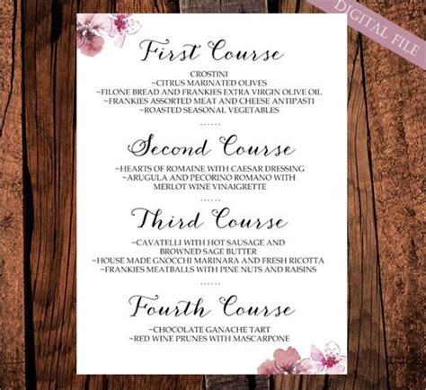 Wedding Dinner Menu Card Template by 23 Wedding Menu Templates Design Trends Premium Psd