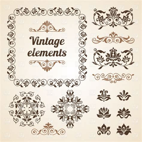 vintage design elements vector set 23 set of vintage vignettes flowers and design elements
