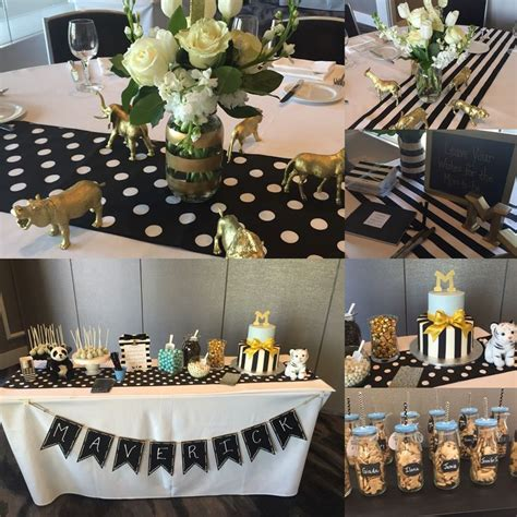 Black And White Themed Baby Shower by Black White And Gold Baby Shower