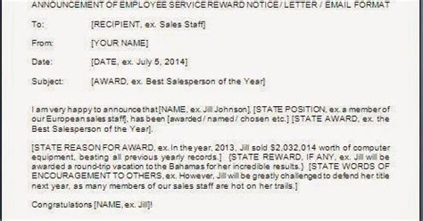 Insurance Account Rounding Letters Employee Award Announcement Sle