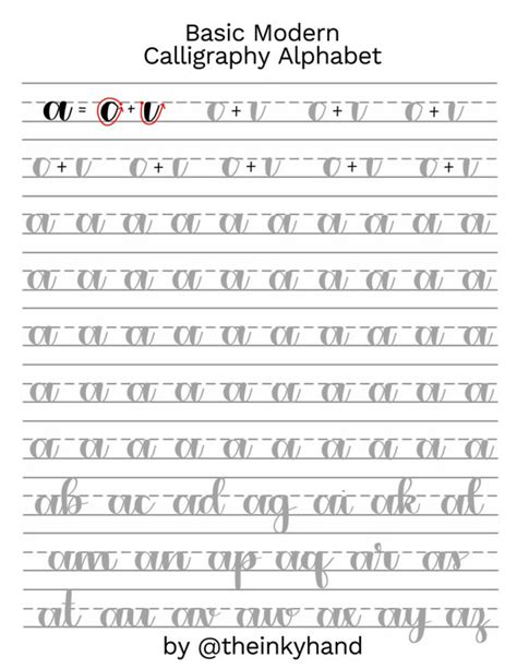 Basic Modern Calligraphy Practice Sheets By Theinkyhand Modern Calligraphy Templates