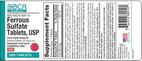 supplement label requirements ferrous sulfate tablets fda prescribing information