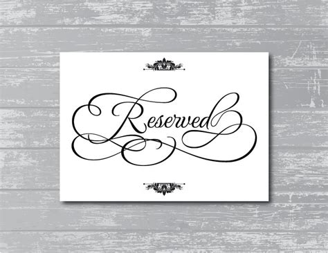 6 Best Images Of Printable Wedding Reserved Signs Free Reserved Table Sign Template