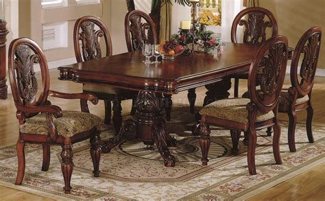cherry finish traditional dining room w carved details