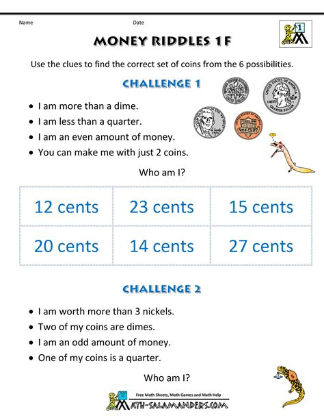 printable math riddles worksheets math money worksheets 1st grade money riddles