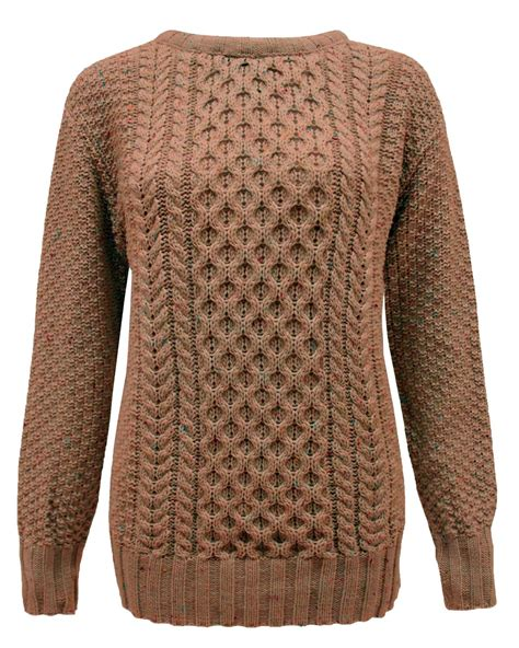 womens cable knit crew neck sleeve knitted cable knit