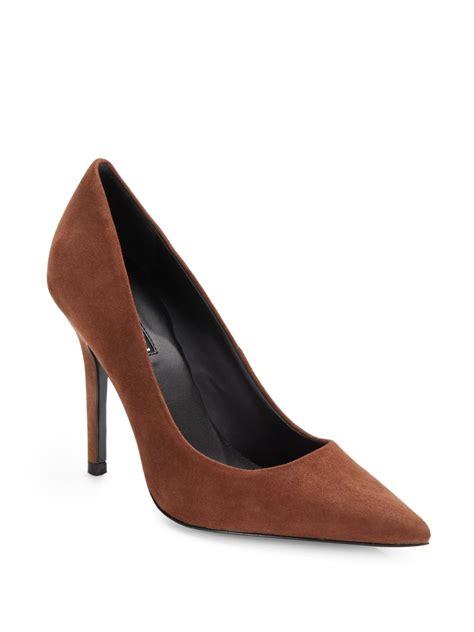 brown suede high heels charles david sway two suede high heel pumps in brown lyst
