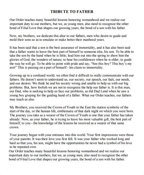8 Sle Tribute Speech Exles Pdf Sle Templates Tribute Templates For A Funeral