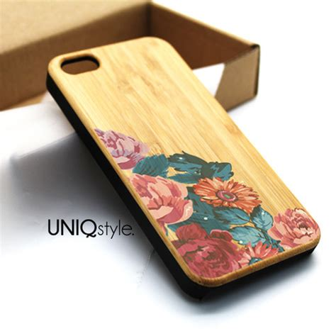 Archi Wood Iphone 5c Custom Flip Cover vintage floral flower print wood for iphone 6