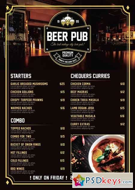 Beer Pub Menu Premium A5 Flyer Template 187 Free Download Photoshop Vector Stock Image Via Pub Menu Template