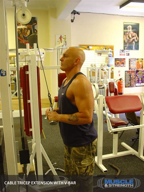 cable tricep extension   bar video exercise guide tips