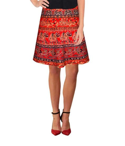 buy ethnic style cotton knee length wrap around skirt