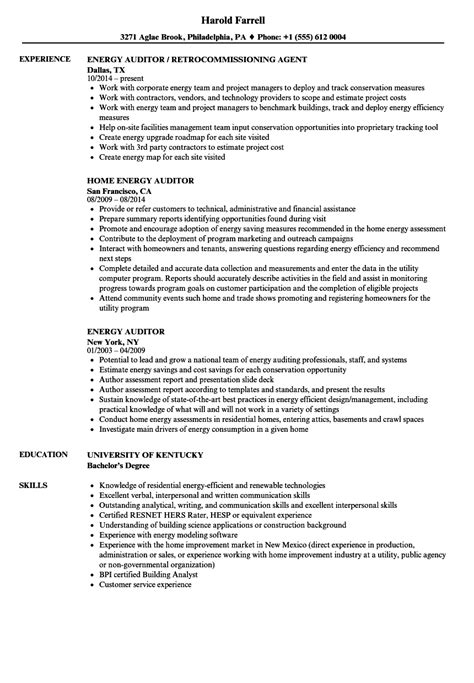 Energy Auditor Sle Resume by Energy Auditor Resume Sles Velvet