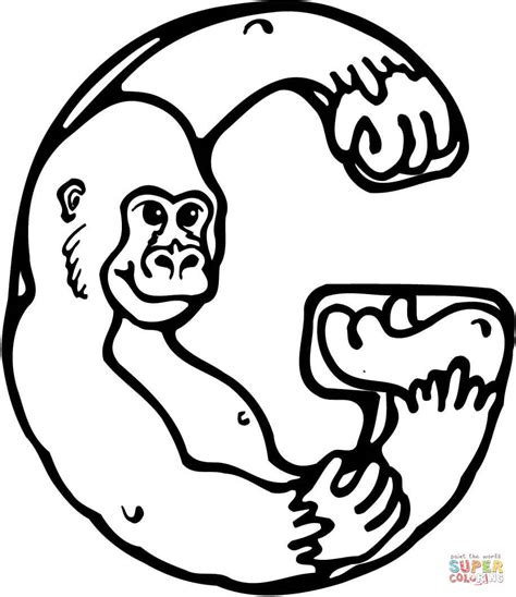 Letter G Is For Gorilla Coloring Page Free Printable Letter G Coloring Pages