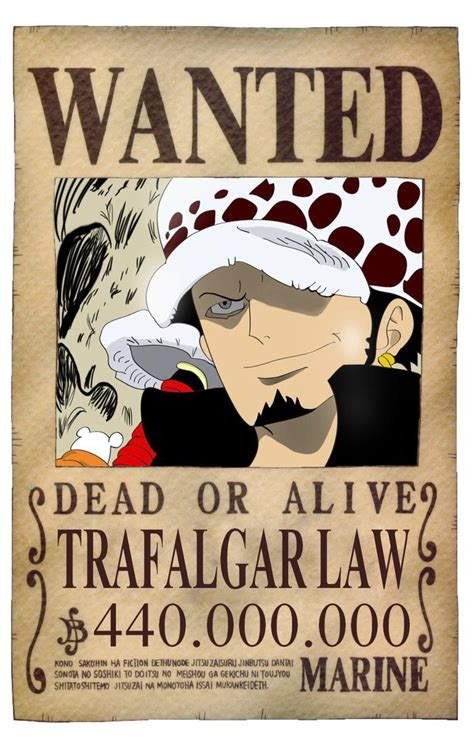 membuat poster buronan one piece one piece trafalgar law official wanted by emo beast on