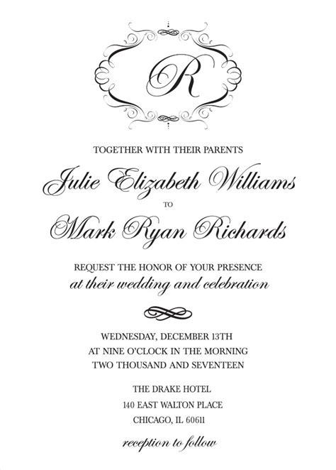 Sle Wedding Invitation Reception To Follow by Printable Wedding Cards Wedding Ideas 2018