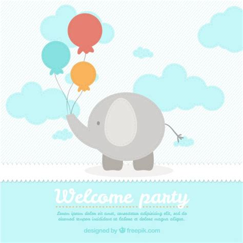 Baby Shower Card Template by Elephant Baby Shower Card Template Vector Free