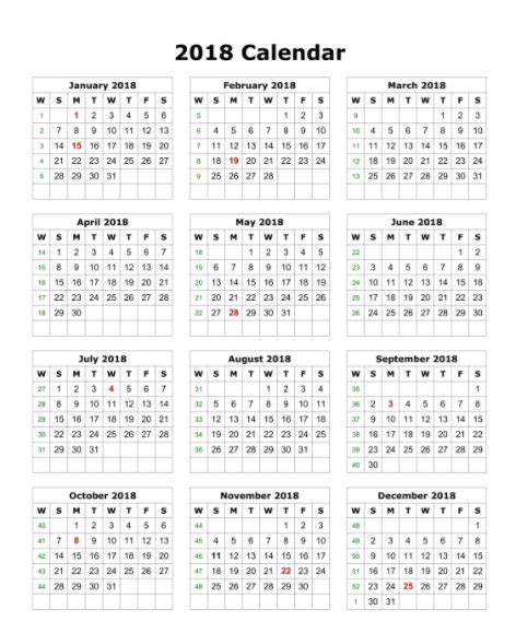 printable calendar 2018 in one page calendar 2018 printable one page calendar 2018
