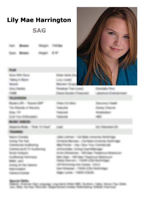 Diy Acting Resume Headshot Layout Templates